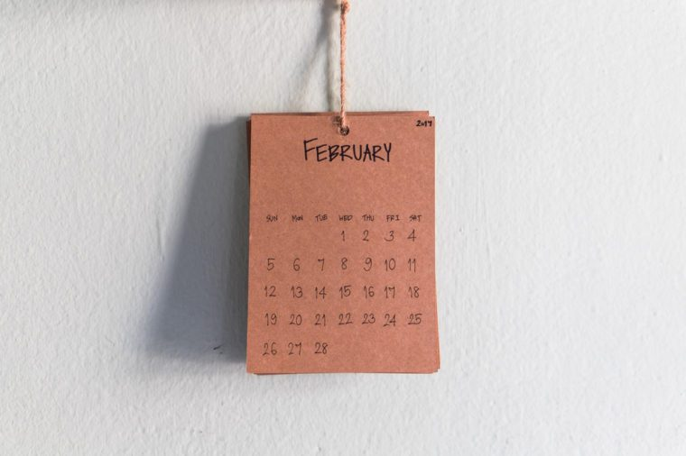 Vintage calendar 2017 handmade hang on the wall, February 2017