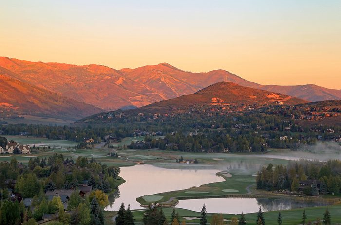 Fall sunrise in Park City, Utah, USA.