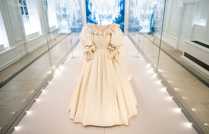 """The wedding dress of Diana, Princess of Wales is displayed during the """"Royal Style In The Making"""" exhibition photocall at Kensington Palace"""