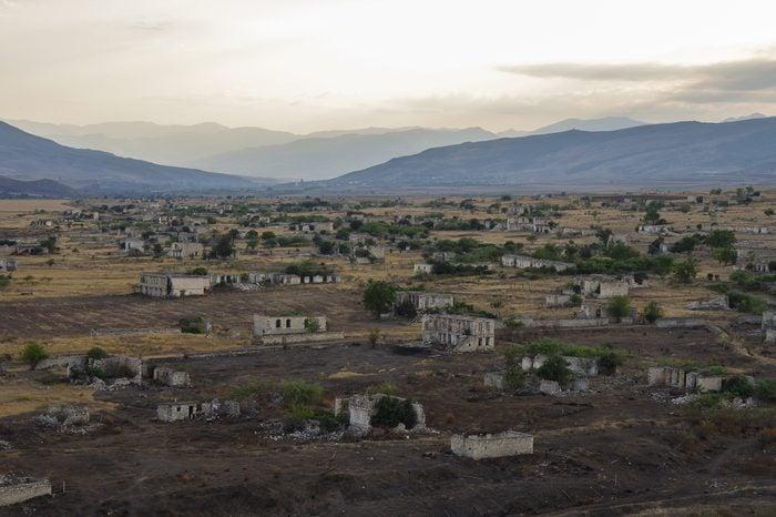 Ruins of Agdam city in Nagorno Karabakh Republic. Azerbaijan - Armenia war result