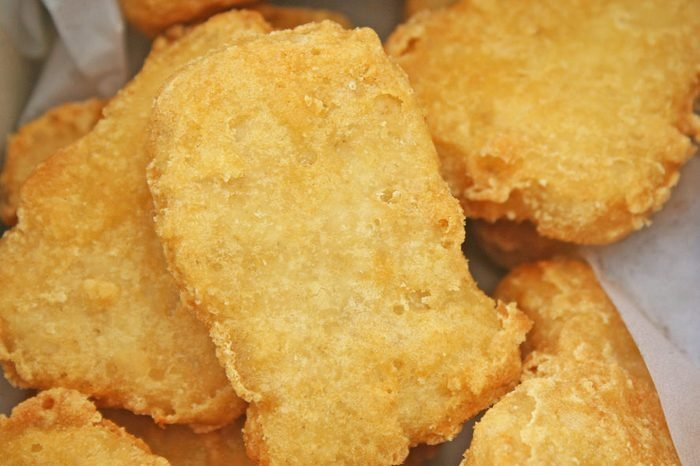 Chicken nuggets in open box