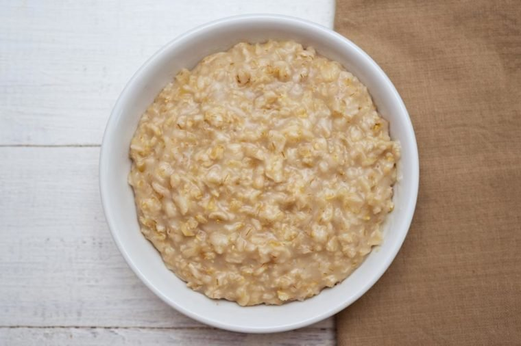 Top view of oats porridge