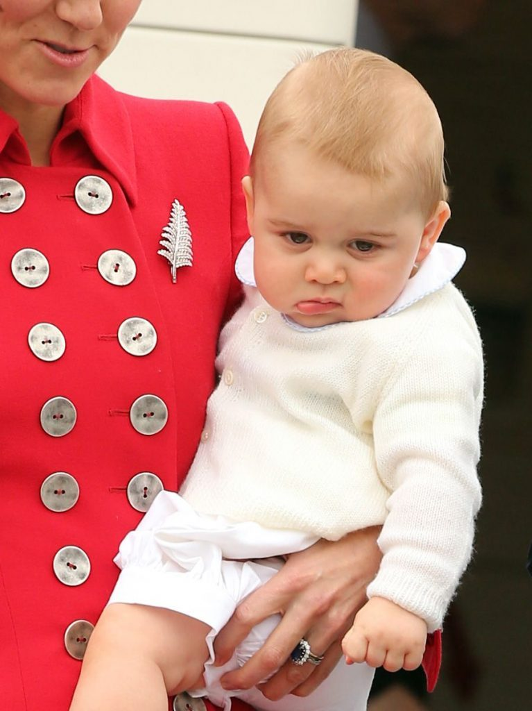 Catherine The Duchess Of Cambridge With Prince George At Wellington Airport New Zealand At The Start Their Royal Tour.