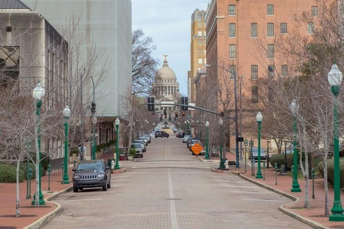 Downtown Jackson, Mississippi with the state capitol building