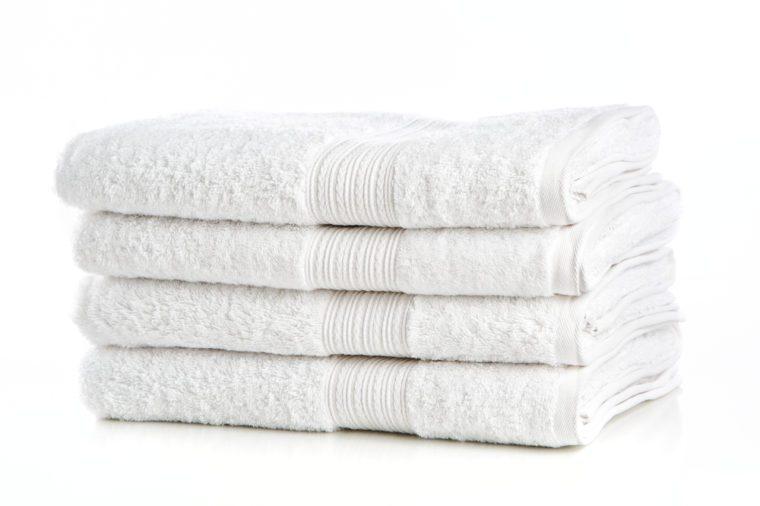 Linda White Towels on White Background