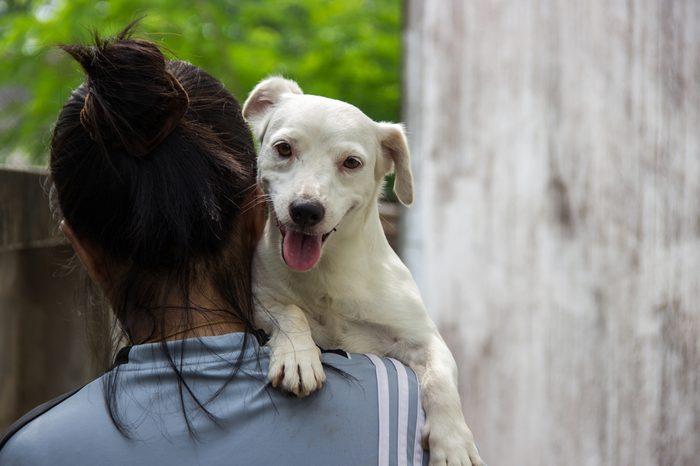 Dog on a Femail shoulders