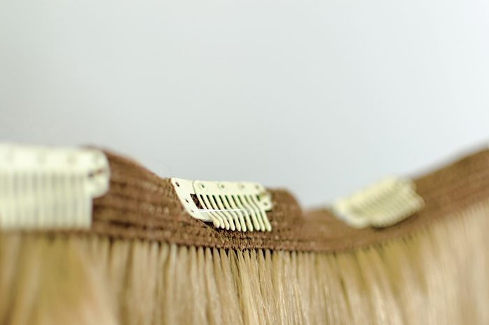 Close-up hair extension on clips