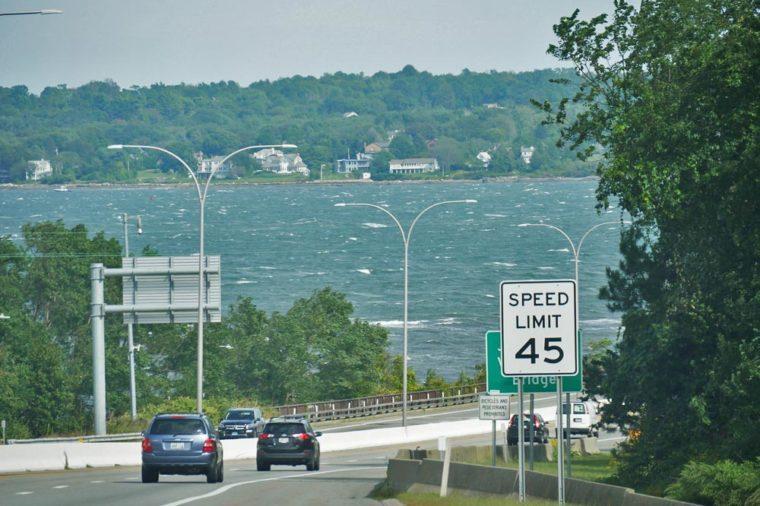 JAMESTOWN, RHODE ISLAND—SEPTEMBER 2017: Speed limit sign for cars traveling across Jamestown Verrazzano Bridge to Narragansett and North Kingstown.