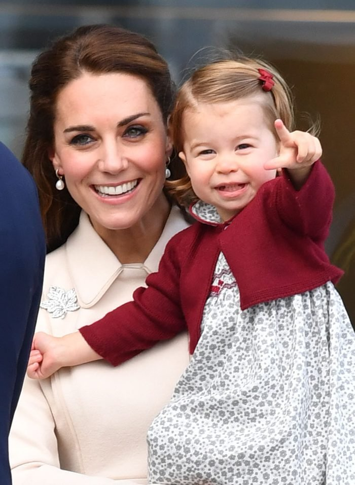 The Duchess Of Cambridge And Princess Charlotte After A Ceremony To Mark Their Departure At Victoria Harbour Seaplane Terminal In Victoria During The Royal Tour Of Canada. Press Association Photo. Picture Date: Saturday October 1 2016. See Pa Story R