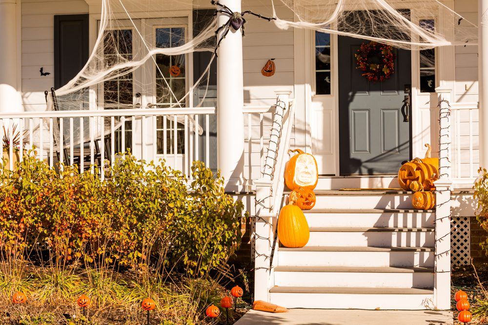 Residential house decorated for Halloween holiday.