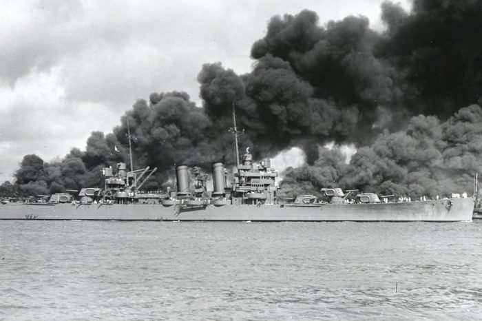 Various Dec 7, 1941, Pearl Harbor, Hawaii - Uss Phoenix (Cl Burning After Japanese Attack