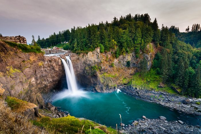 Landscape of Snoqualmie Falls in Washington State, USA. Washington State is a state in the Pacific Northwest.The Washington state's largest city is Seattle.This is one landmark of Washington State