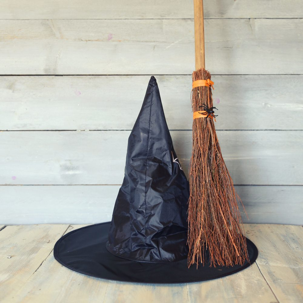 Halloween photo with witch hat and broom