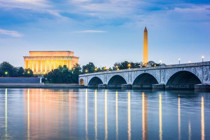Washington DC, USA skyline on the Potomac River.