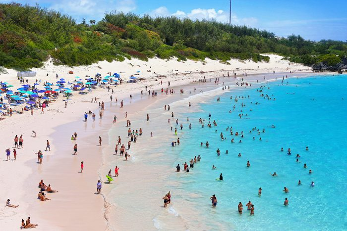 A scenic view of Horseshoe Bay Beach in Bermuda.