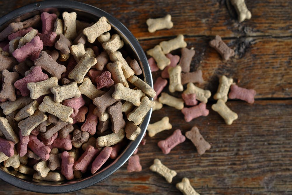 A top view image of small dog treats in a metal dog dish.