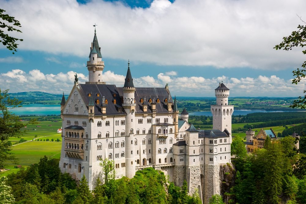 Summer landscape - view of the famous tourist attraction in the Bavarian Alps - the 19th century Neuschwanstein castle.