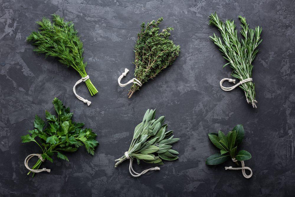 fresh herbs on dark stone background