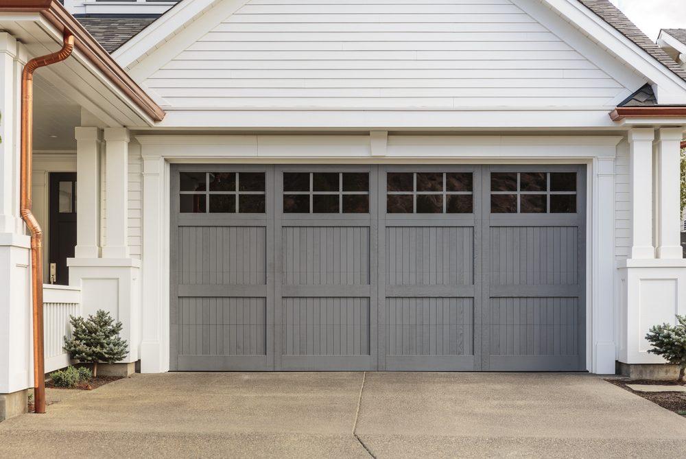 Gray garage door that is closed