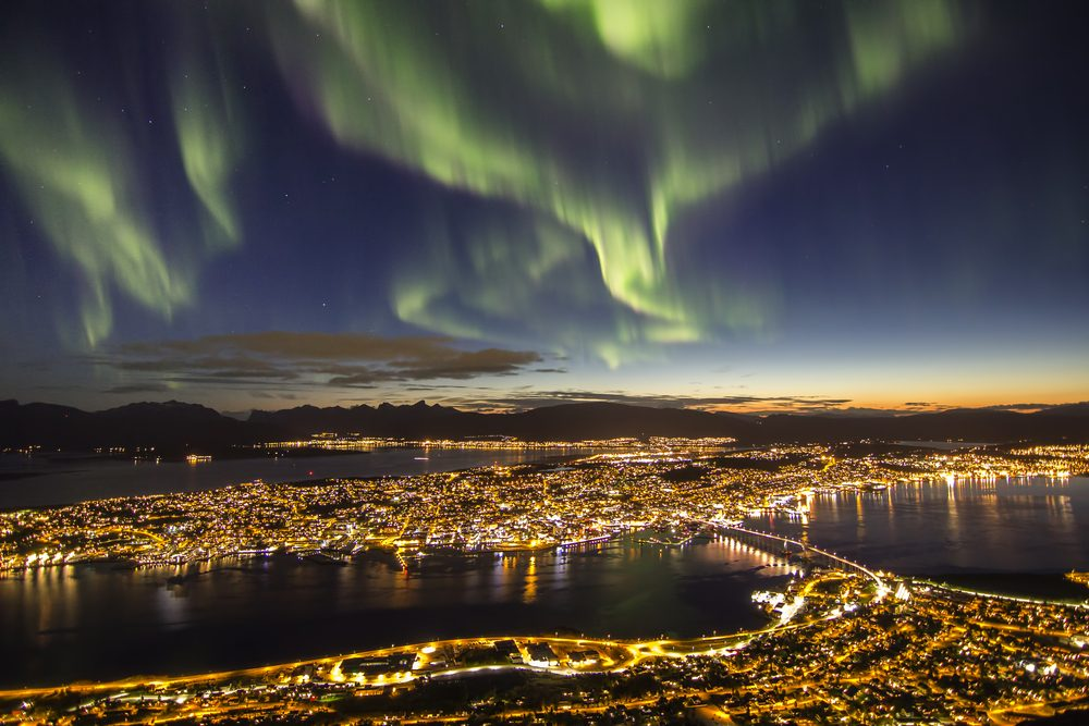 Northern lights (aurora borealis) over Tromso, Norway