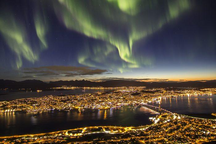 Northern lights (aurora borealis) over Tromso, Norway