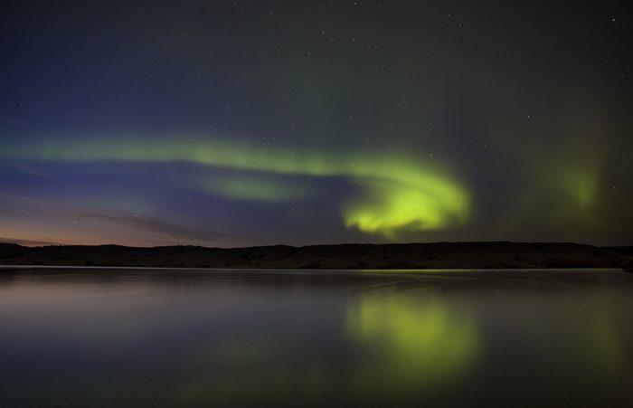 Night Shot Northern Lights Saskatchewan Canada