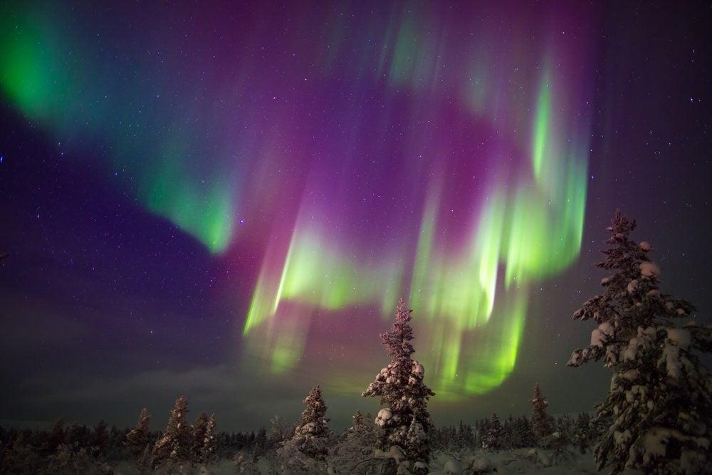 Aurora borealis (northern lights) in Lapland, Finland.
