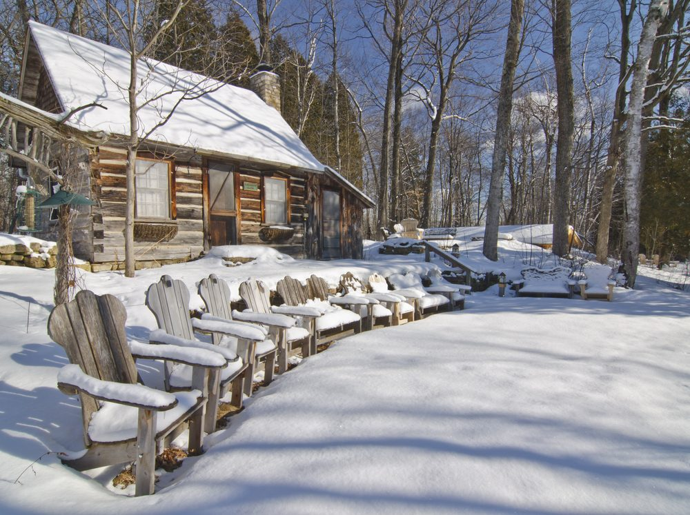 Mertha's Cabin and Emma's Chairs sit waiting in winter for classes to begin again in Spring at the Folk School in Ellison Bay, Door County, Wisconsin