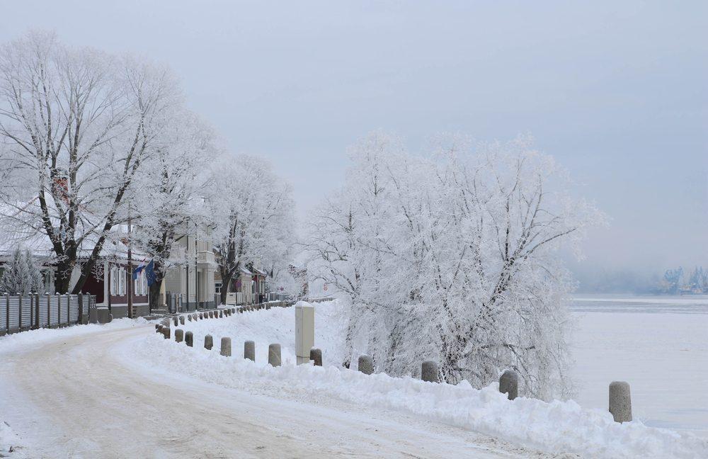 Snow Street. Winter landscape with snowy street