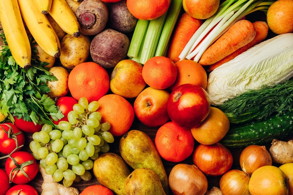 Colourful fruits and vegetables background, top view, healthy eating concept