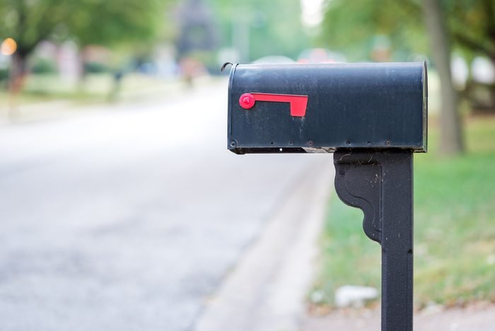 Mailbox with flag down