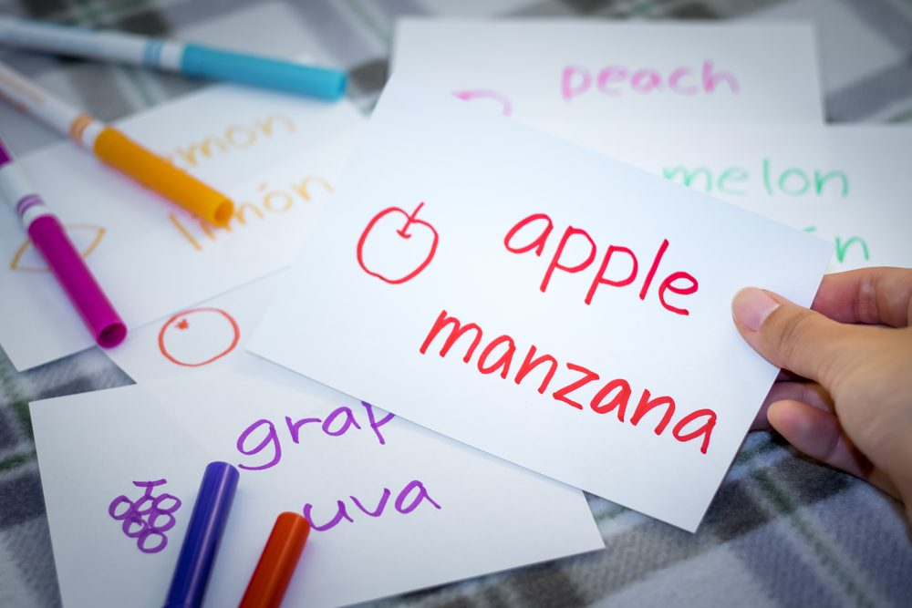 Spanish; Learning New Language with Fruits Name Flash Cards