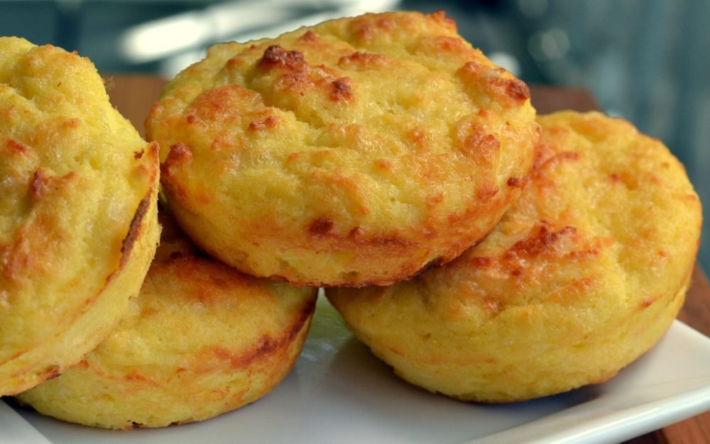 Close-up, side view of Ketogenic cheese biscuits (buns): selective focus