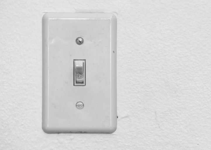 Close up of Light Switch with copy space to the side.
