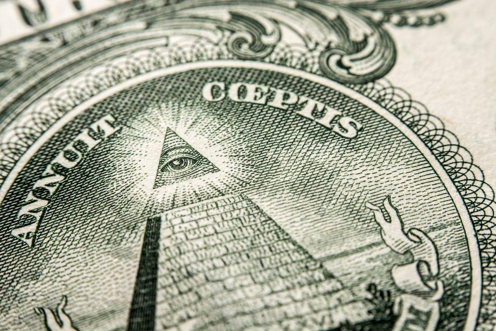 US Dollar bill, super macro, close up photo