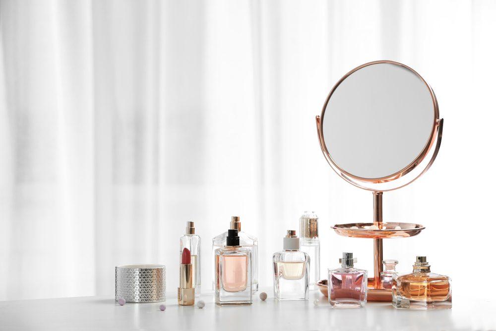 Perfume bottles on dressing table