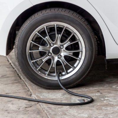 Filling air into a car tire