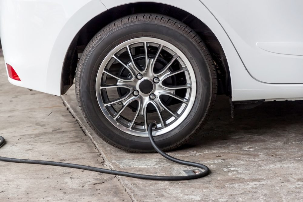 Filling air into a car tire