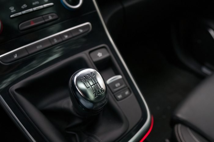 Manual gear shift lever in the new car.