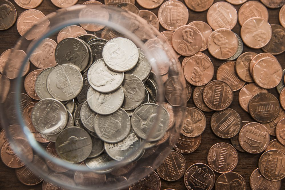 american cent - metal Coin in glass Jar or bank. indoor and outdoor. Save money in transparent space.