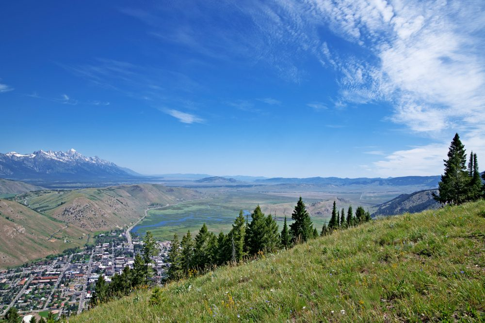 Aerial panoramic view from chairlift at Snow King Mountain Jackson Hole Wyoming