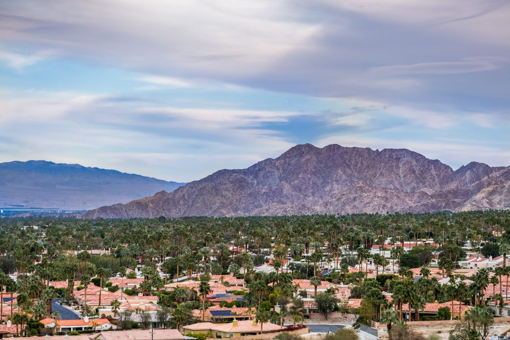 Aerial view of residential area in Palm Desert, California
