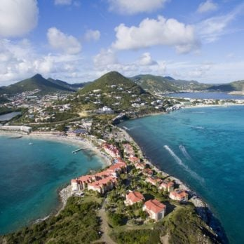 High Aerial view of the island of St. Maarten on a sunny day