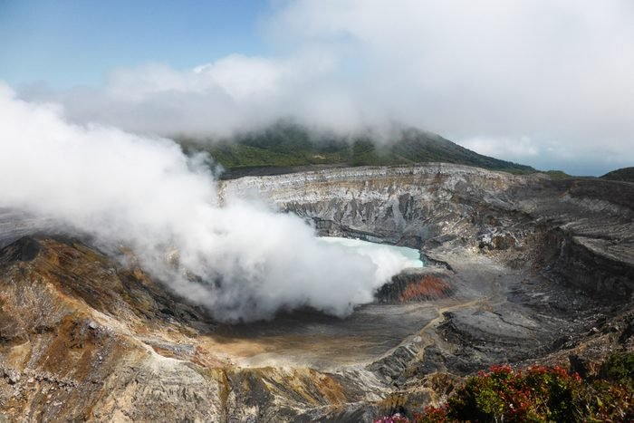Smoke emerging from the Main Crater of Poas Volcano and National Park, Costa Rica