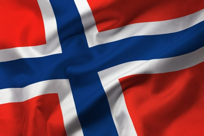 Satin texture of curved flag of Norway