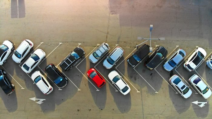 Aerial. Car parking. View from drone.