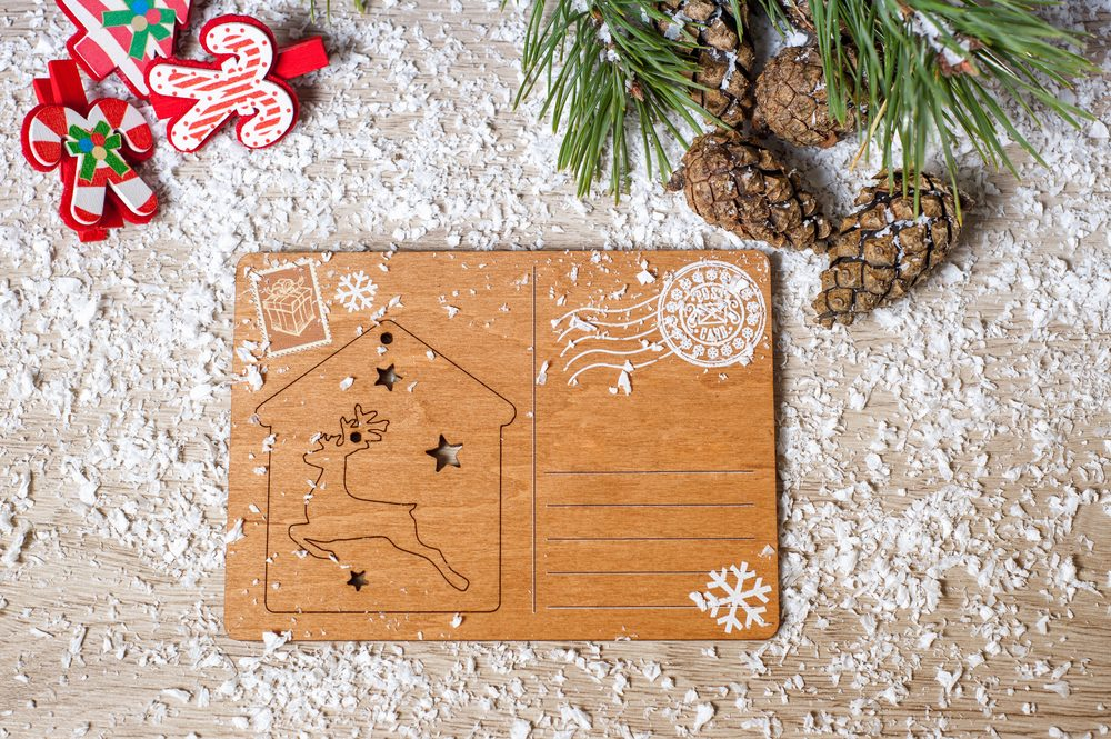 Christmas card or letter on the background of snow, Christmas decorations with free space for text