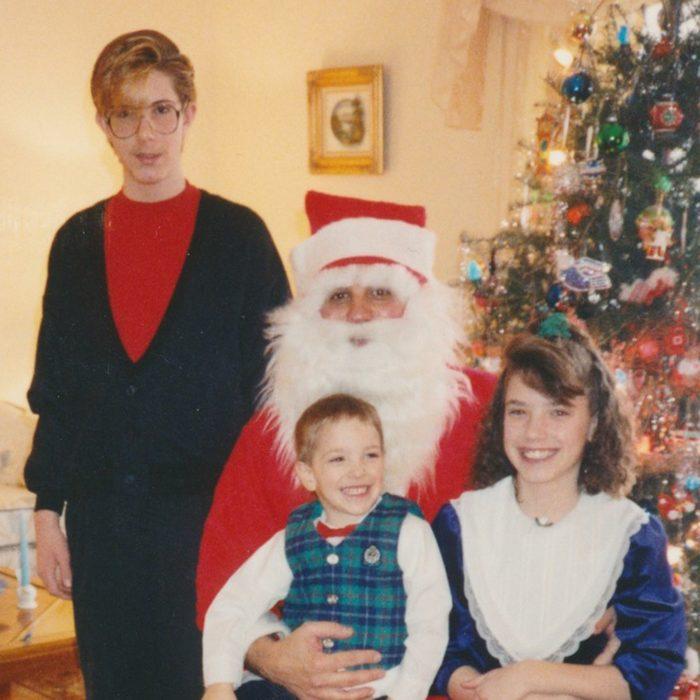 Santa visiting a family on Christmas