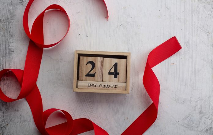 Christmas Eve Date On Calendar, December 24, with Christmas decorations