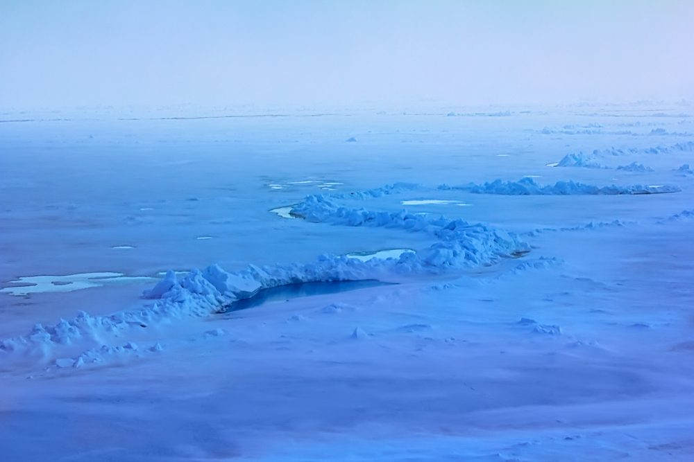 Long line of compression of ice fields ice reefing near the North pole